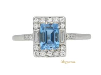 front view Vintage aquamarine and diamond cluster ring, circa 1950.