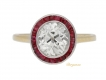 alt='front view Antique diamond and ruby target ring, circa 1910.       '
