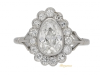 front view Drop shape old mine diamond coronet cluster ring, circa 1920.