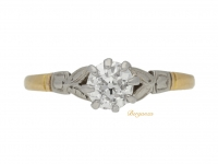 front view Solitaire diamond engagement ring, circa 1920.