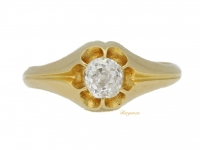front view Victorian solitaire diamond ring, circa 1866.