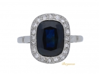front view Sapphire and diamond cluster engagement ring, French, circa 1920.
