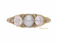 front view Antique pearl and diamond three stone ring, circa 1900.