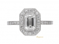 front view Art Deco emerald-cut diamond cluster ring, circa 1935.
