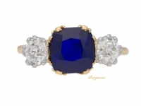 front view Burmese Royal Blue sapphire and diamond three stone ring, circa 1920.