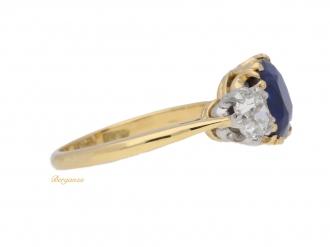 front view Burmese Royal Blue sapphire and diamond three stone ring, circa 1920.