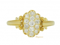 front view Victorian diamond cluster ring, English, circa 1896.