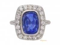 front view Sapphire and diamond coronet cluster ring, French, circa 1920.