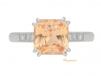 front view Padparadscha sapphire ring, circa 1950.