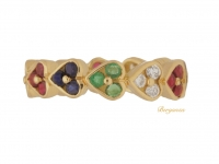 front view Vintage diamond, emerald, ruby and sapphire heart shape eternity ring, Italian, circa 1970s.