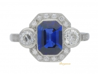 front view Sapphire and diamond cluster ring, circa 1930.