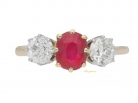 front view Antique Burmese ruby and diamond three stone ring, circa 1910.