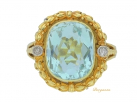 front view Antique aquamarine and diamond ring, French, circa 1905.