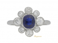 front view Sapphire and diamond cluster, circa 1920.