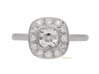 front view Cushion shape coronet cluster ring, circa 1920.