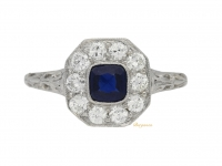 front view Edwardian sapphire and diamond coronet cluster ring, circa 1910.