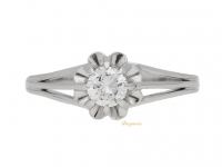 front view Solitaire diamond ring, French, circa 1950.