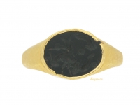 front view Ancient Roman ring with hippocampus intaglio, circa 3rd century AD.