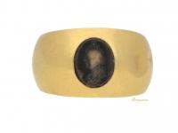 front view Ancient Roman gold Serapis intaglio ring, circa 1st-3rd century AD.