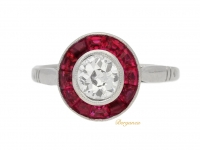 front view Diamond and ruby target ring, French, circa 1915.