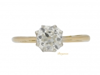 front view Solitaire cushion shape old mine diamond ring, circa 1905.