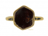 front view Byzantine garnet and enamel ring, circa 6th-9th century.