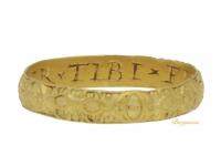 front view Post Medieval gold posy ring 'SEMPER + TIBI + FIDELIS + ERO', circa 16th-17th century,