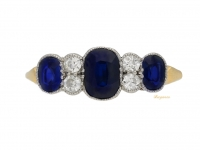 front view Edwardian sapphire and diamond ring, circa 1905.