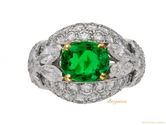 front-view-Emerald-and-diamond-cluster-ring-by-Cartier-Paris,circa-1970-hatton-garden-berganza