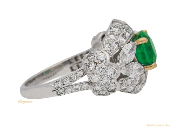 side-view-Emerald-and-diamond-cluster-ring-by-Cartier-Paris,circa-1970-hatton-garden-berganza