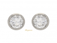 front view Diamond stud earrings, circa 1950.