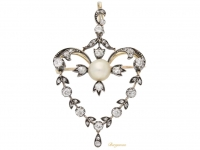 front view Antique natural pearl and diamond pendant.circa 1890
