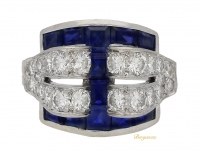 front view Art Deco sapphire and diamond ring by Tiffany & Co, American, circa 1935.