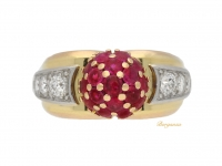 front view Ruby and diamond cocktail ring, circa 1940.