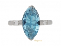 front view Marquise shape aquamarine and diamond ring, circa 1950.