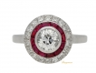alt='front view Antique diamond and ruby target ring, French, circa 1905.'