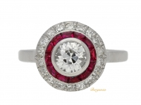 front view Antique diamond and ruby target ring, French, circa 1905.