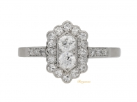 front view Diamond cluster ring, English, circa 1920.