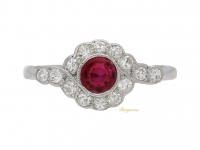 front view Ruby and diamond cluster ring, circa 1915.