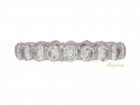 front view Vintage diamond set eternity ring, French, circa 1970s.