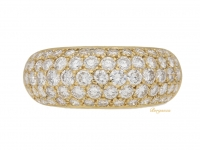 front view Diamond set bombé ring, French, circa 1970s.