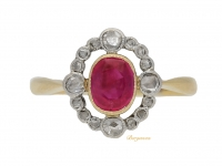 front view Belle Epoque ruby and diamond cluster ring, circa 1905.