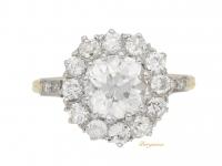 front-view-Edwardian-diamond-coronet-cluster-ring,-English,-circa-1905.-berganza-hatton-garden