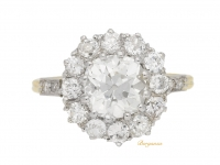 front view Edwardian diamond coronet cluster ring, English, circa 1905.