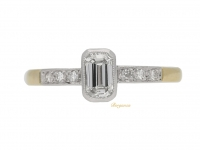 front view Emerald-cut diamond ring, circa 1950.