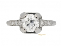 front view Art Deco diamond ring, French, circa 1930.