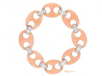 front-view-Angel-skin-coral-diamond-bracelet-berganza-hatton-garden