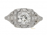 front view Ornate diamond ring, American, circa 1920.