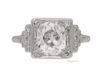 front-view-Art-Deco-cushion-shape-old-mine-diamond-ring,-circa-1935.-berganza-hatton-garden