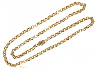 front-view- Georgian-gold-chain-with-turquoise-set-clasp,-circa-1780-berganza-hatton-garden